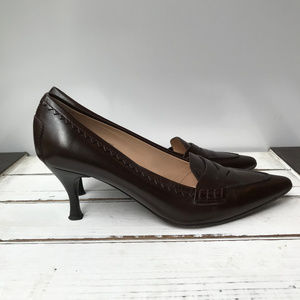 Tod's Brown Leather Kitten Heel Penny Loafers